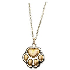 Matthew Cambery 18K White and Rose Gold Puppy Paw Pendant with Diamond Set Chain