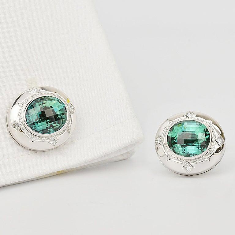 Contemporary Matthew Cambery 18k White Gold 14.74 Ct Blue Green Tourmaline Diamond Cufflinks For Sale