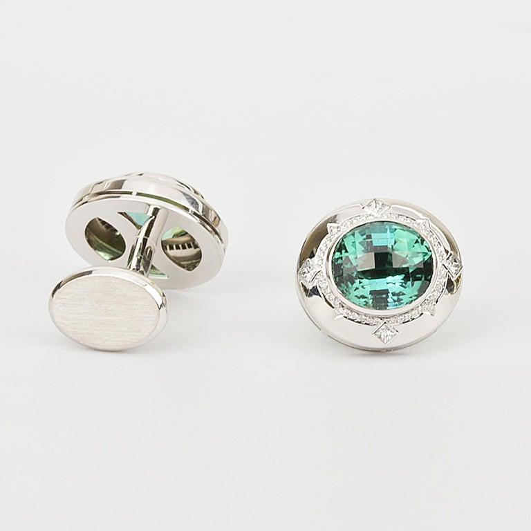 Oval Cut Matthew Cambery 18k White Gold 14.74 Ct Blue Green Tourmaline Diamond Cufflinks For Sale