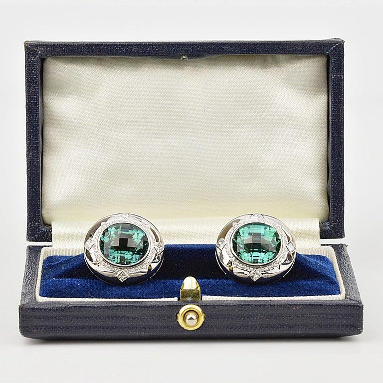 Men's Matthew Cambery 18k White Gold 14.74 Ct Blue Green Tourmaline Diamond Cufflinks For Sale