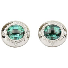 Matthew Cambery 18k White Gold 14.74 Ct Blue Green Tourmaline Diamond Cufflinks