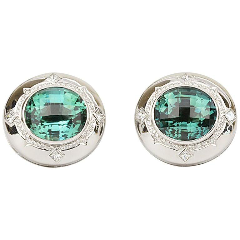 Matthew Cambery 18k White Gold 14.74 Ct Blue Green Tourmaline Diamond Cufflinks For Sale