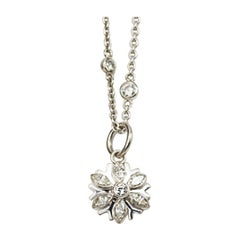 Matthew Cambery 18 Karat White Gold Marquise Diamond Snowflake Necklace