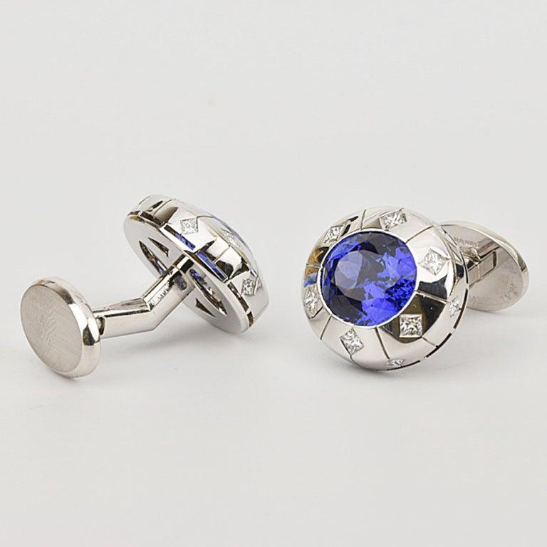 Oval Cut Matthew Cambery 18 Karat White Gold Oval Tanzanite 13.29 Carat Diamond Cufflinks For Sale