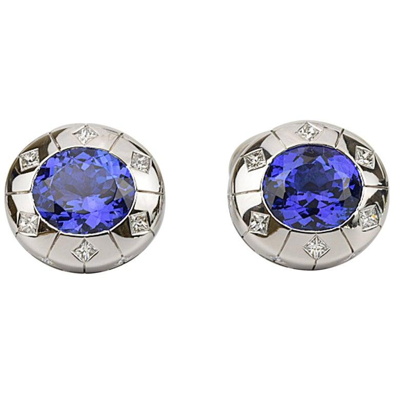 Matthew Cambery 18 Karat White Gold Oval Tanzanite 13.29 Carat Diamond Cufflinks For Sale