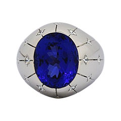Matthew Cambery 18 Karat White Gold Oval Tanzanite 9.83 Carat and Diamond Ring