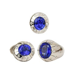 Matthew Cambery 18 Karat White Gold Oval Tanzanite Ring and Cufflinks Set