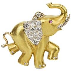 Matthew Cambery 18 Karat Yellow Gold Diamond and Ruby Elephant Brooch