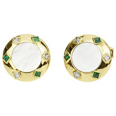 Matthew Cambery 18 Karat Gold Diamond Emerald and Mother of Pearl Cufflinks