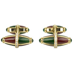 Matthew Cambery 18 Karat Yellow Gold Enamel Diamond Emerald Cabochon Cufflinks
