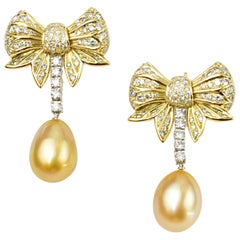 Matthew Cambery 18 Karat Gold Platinum Diamond Bow Earrings South Sea Pearls