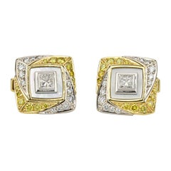 Matthew Cambery 18 Karat Gold Platinum White Diamond Yellow Diamond Cufflinks