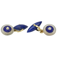 Matthew Cambery 18 Karat Yellow Gold Rock Crystal Lapis Lazuli Diamond Cufflinks