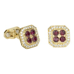 Matthew Cambery 18 Karat Yellow Gold Ruby and Diamond Cufflinks