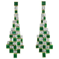 Matthew Cambery 22 Karat Gold Platinum Emerald and Princess Cut Diamond Earrings