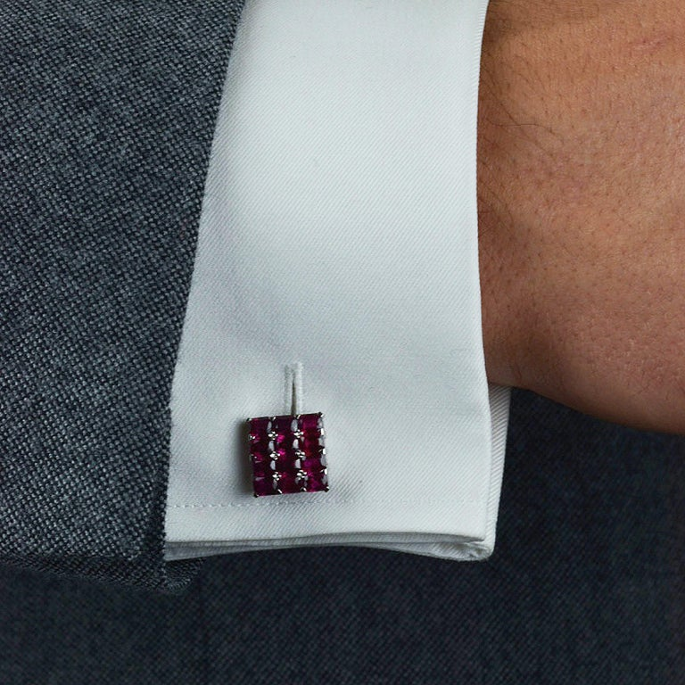 Matthew Cambery Hand made one of a kind bespoke Platinum Cufflinks set with beautifully matched rich red Emerald Cut Rubies totalling  11.00Carats. T Bar Fitting.
