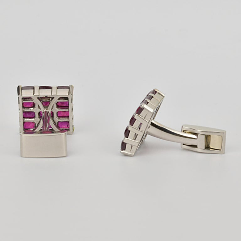 Matthew Cambery Bespoke Handmade Platinum and Emerald Cut Ruby Cufflinks In New Condition For Sale In London, GB
