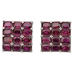 Matthew Cambery Bespoke Handmade Platinum and Emerald Cut Ruby Cufflinks