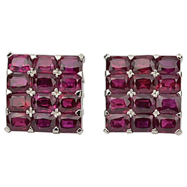 Matthew Cambery Bespoke Handmade Platinum and Emerald Cut Ruby Cufflinks For Sale