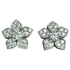 Matthew Cambery Diamond and Platinum Flower Earrings