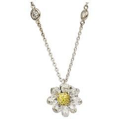 Matthew Cambery Platinum 18 Karat Gold Briolette Yellow Diamond Daisy Pendant