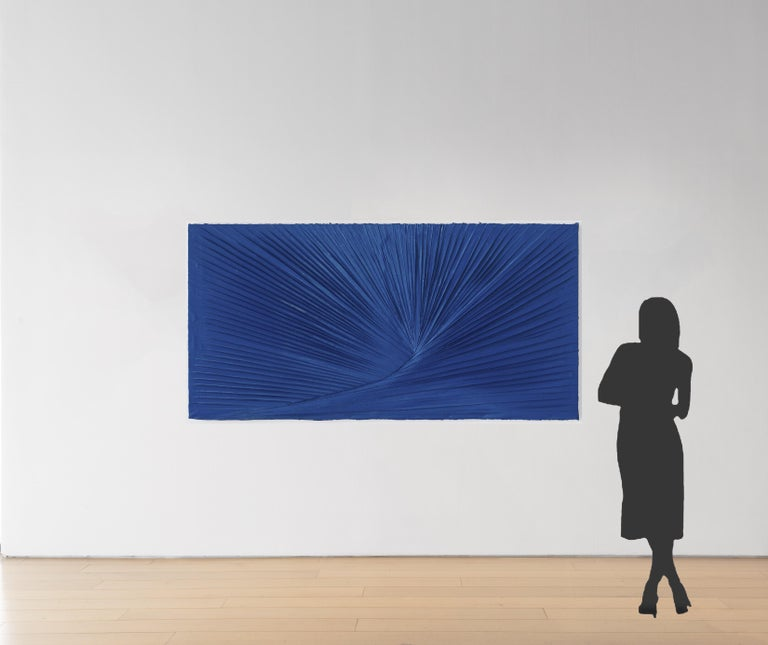 A large-scale monochromatic painting, can be oriented horizontally or vertically.  A Certain Understandable Resistance 2014 Acrylic and 3 part Monterey blue enamel and acrylic on canvas 96 x 48 inches  About the artist  Matthew Chambers was born in