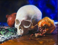 Memento Vivere - Original Oil Painting  Human Skull in 17th Century Dutch Style