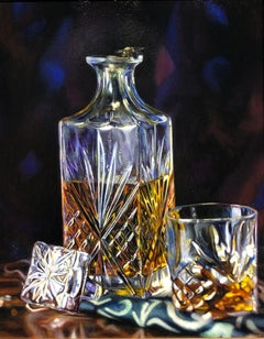 The Misunderstanding - Still Life with Honey Bee on Edge of Crystal Decanter