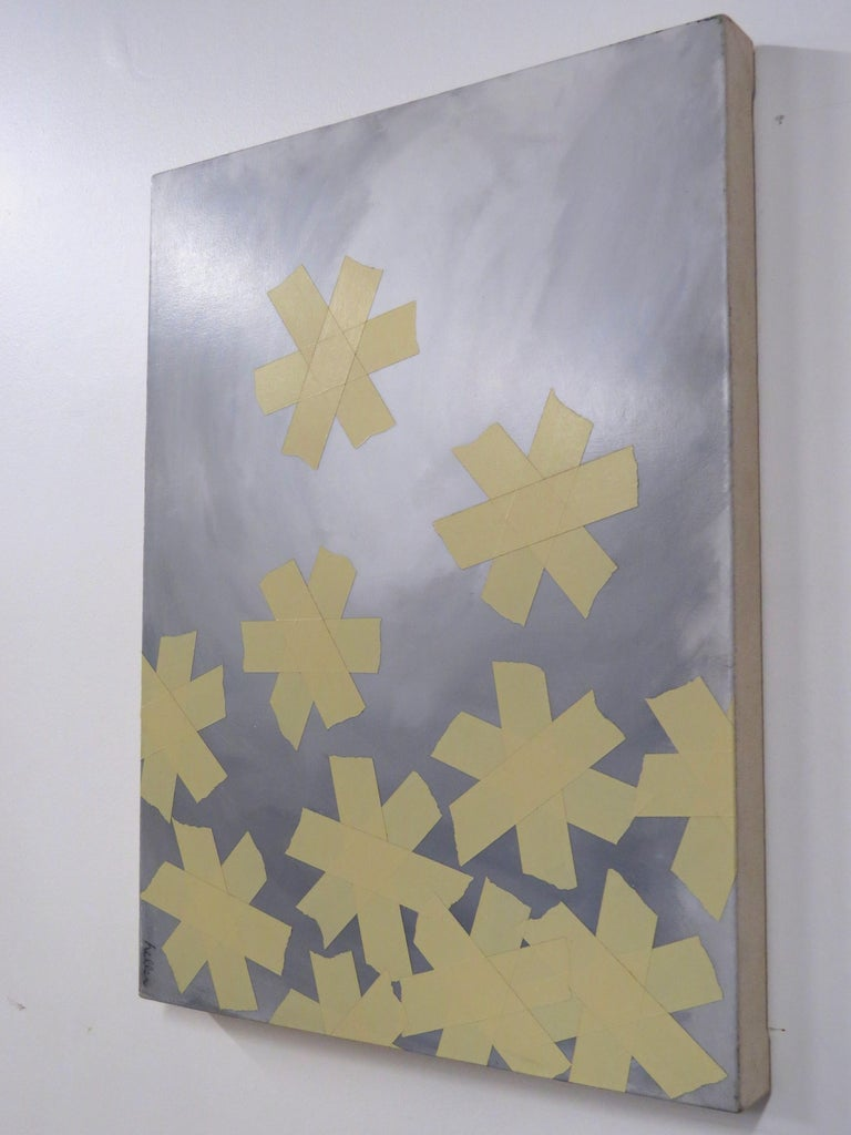 Asterisks, tape, monochromatic, paint, canvas, small - Contemporary Mixed Media Art by Matthew Heller