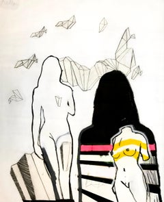 Figurative, Pencil, Acrylic, Paper, Shapes, Lines, Pink, Yellow, Black