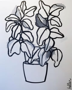 Plant (Gray), black and white, still life, painting, linear,