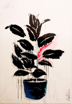 Untitled (Plant), pink, blue, fuchsia, black and white, painting, still life