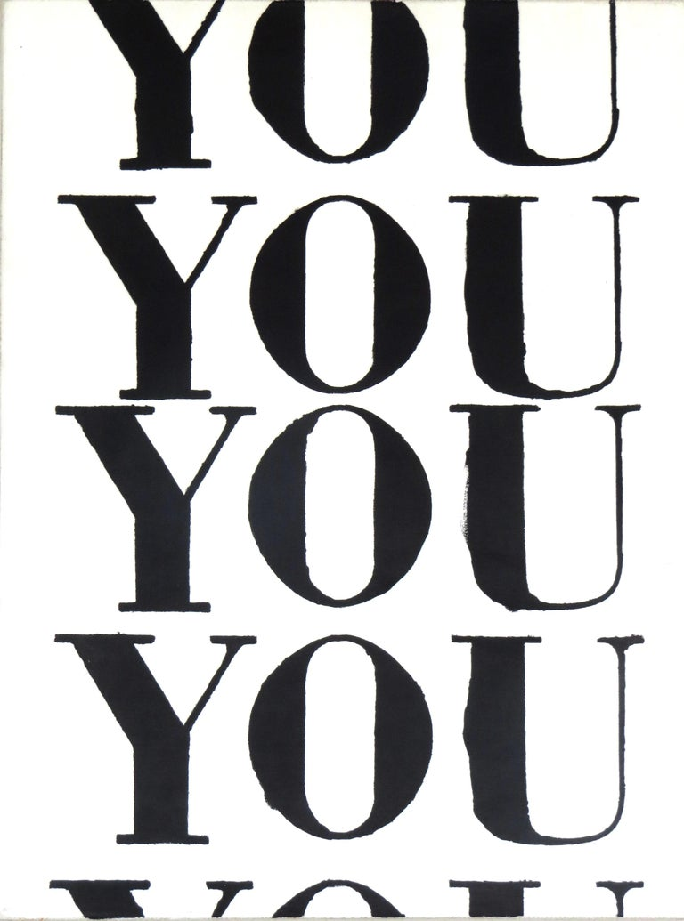 """""""You"""" text, painting, small canvas, monochromatic, black and white - Art by Matthew Heller"""