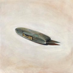 Blade (Framed Realistic Still Life Oil Painting of Grey Utility Knife on Beige)