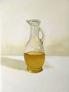 Extra Virgin (Small, Realistic Still Life Painting of Olive Oil Bottle)