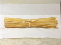 Linguini (Small Still Life Painting on Panel of Yellow Pasta)