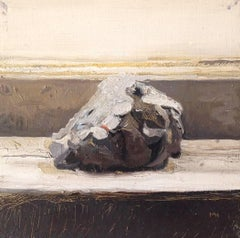 Lump (Small Framed Realistic Still Life Painting of Black Coal)