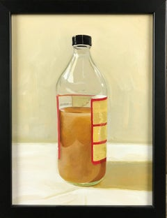Mother (Realistic Still Life Oil Painting of a Bottle of Apple Cider Vinegar)