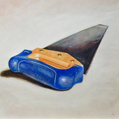 Saw (Realistic Still Life Oil Painting Blue Everyday Tool in Light Wood Frame)