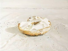 Shmear (Small, Realistic Still Life Painting of Bagel with White Cream Cheese)