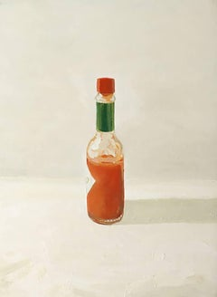 Tobasco (Small Still Life Oil Painting of Red Tabasco Hot Sauce)