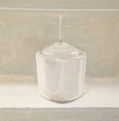 Wick (Small Realistic Still Life Oil Painting on Panel of a White Candle)