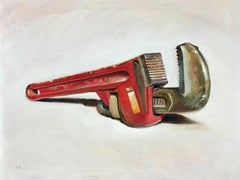 Wrench (Realistic Still Life Oil Painting of Red Tool with Light Wood Frame)