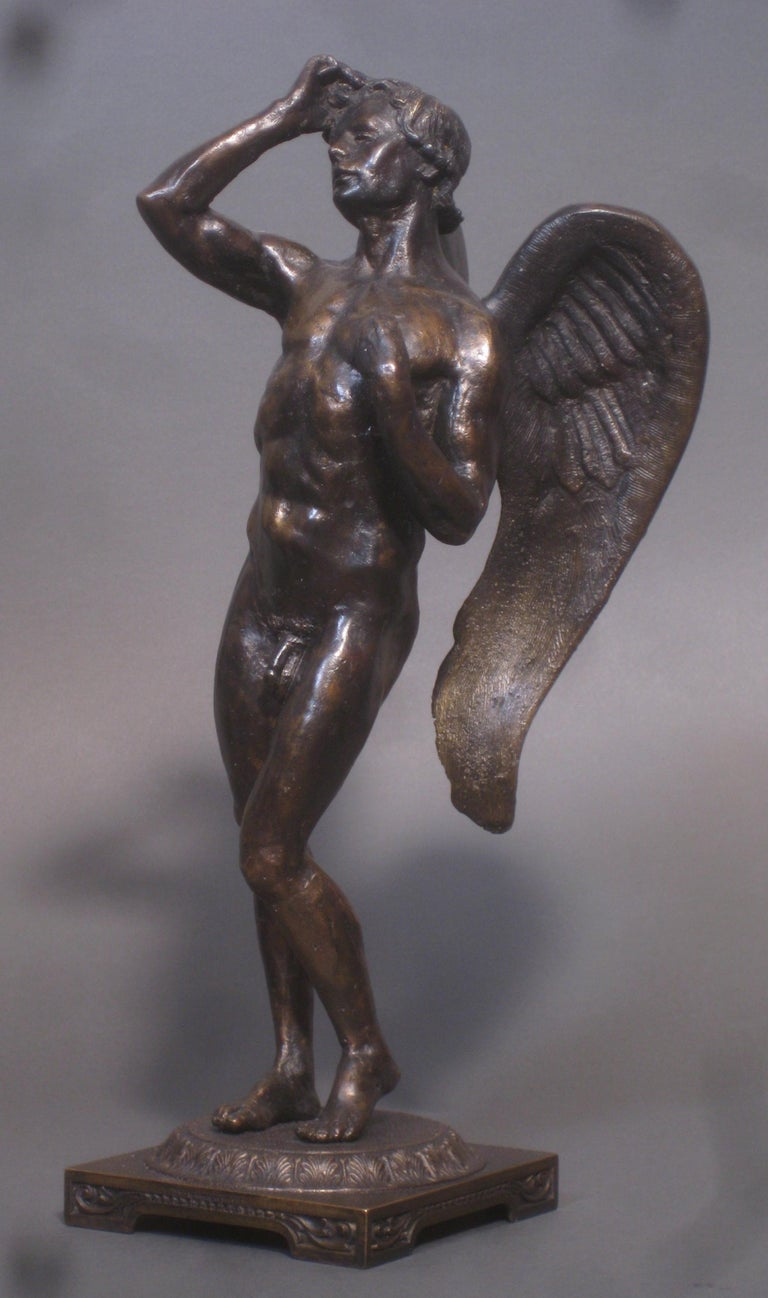 Eros,  Bronze Sculpture, Lost Wax Method , Cesello, Florence, Italy, Antiquity  - Gold Figurative Sculpture by Matthew James Collins