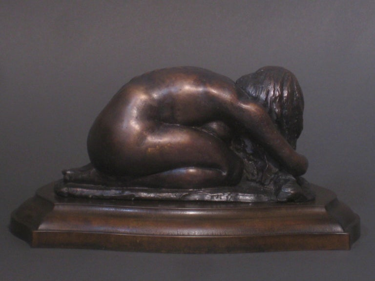 L'Hiver, Winter, Bronze Sculpture, Lost Wax Method , Romantic, Florence, Italy - Gold Figurative Sculpture by Matthew James Collins