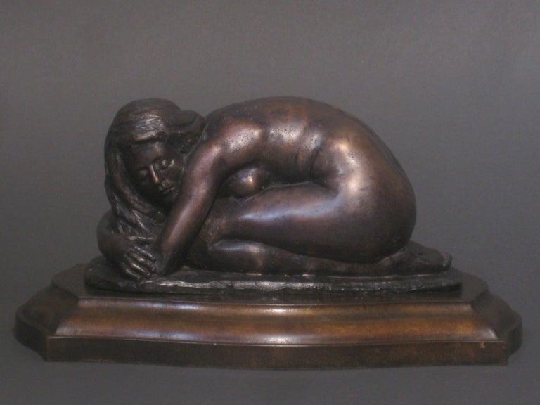 Matthew James Collins Figurative Sculpture - L'Hiver, Winter, Bronze Sculpture, Lost Wax Method , Romantic, Florence, Italy