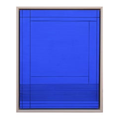Contemporary Abstract Yves Klein Blue Grooved Wall Sculpture / Painting