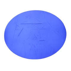 Contemporary Abstract Yves Klein Blue Geometric Oval Wall Sculpture / Painting