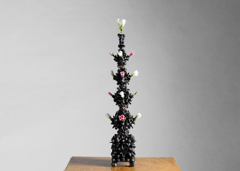American Matthew Soloman, Black Tulipiere with Bees Sculpture, United States, 2019 For Sale