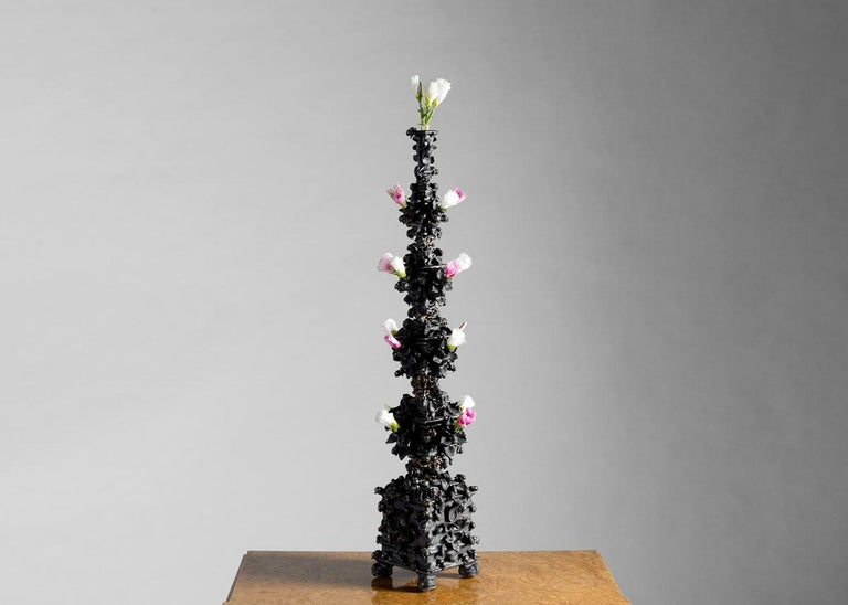 Glazed Matthew Soloman, Black Tulipiere with Bees Sculpture, United States, 2019 For Sale